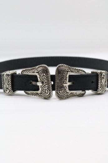 double buckle real leather belt / black