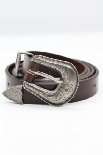 vintage like silver buckle real leather belt / brown