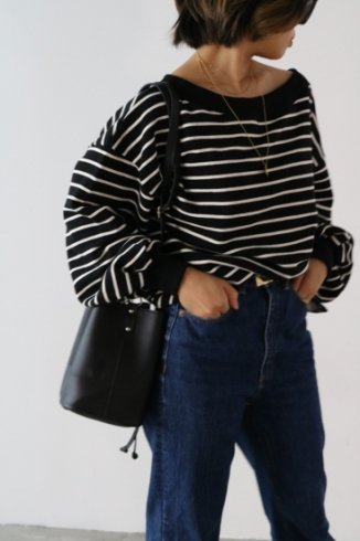 2way off shoulder stripe pattern sweat tops / black