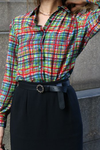 【vintage】Christian Dior / front logo button check pattern blouse