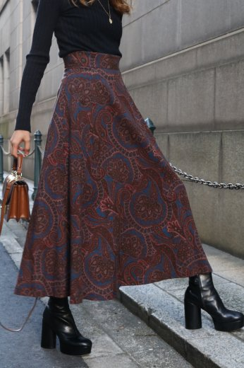 【vintage】paisley pattern long flare skirt