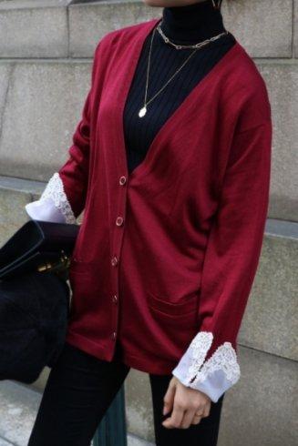 【vintage】Christian Dior / lace cuffs V neck silk cardigan / bordeaux