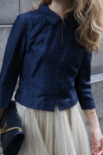 【vintage】BALENCIAGA / cut away collar blouse / navy