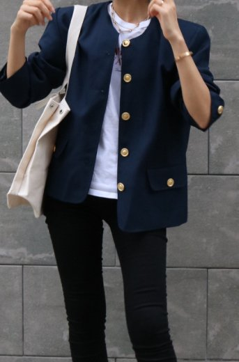 <img class='new_mark_img1' src='https://img.shop-pro.jp/img/new/icons14.gif' style='border:none;display:inline;margin:0px;padding:0px;width:auto;' />【vintage】front gold button no collar jacket / navy