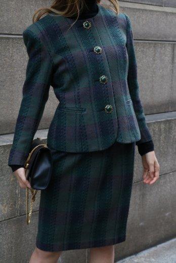 【vintage】gold bijou button no collar jacket & skirt set up