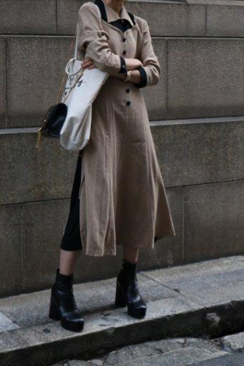 【vintage】side lace up design bicolor long flare dress
