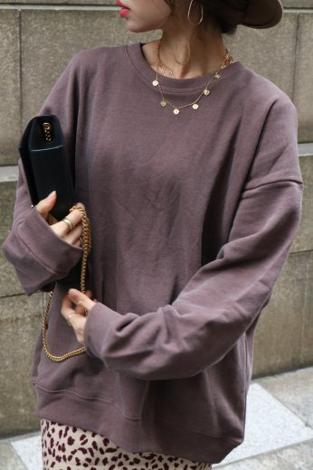 crew neck sweat tops / wine