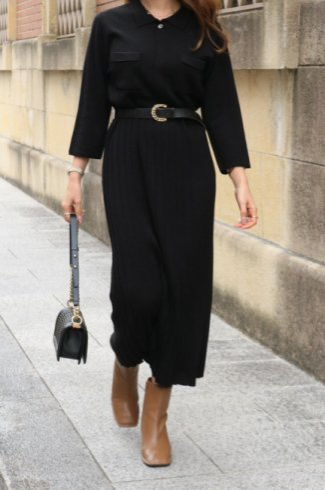 cut away collar long knit pleats dress / black