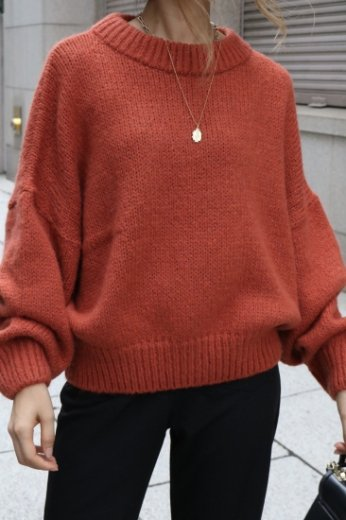wide rib neck volume sleeves knit tops / orange