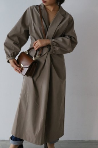 front twist design notched lapel collar dress / mocha beige