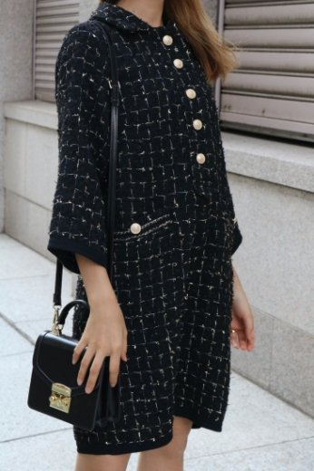 front gold button tweed dress / black