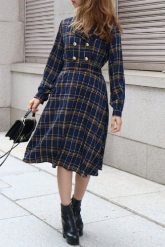 open collar tartan check pattern flare dress OG / navy