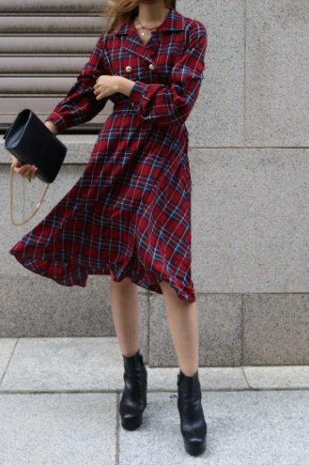 <img class='new_mark_img1' src='https://img.shop-pro.jp/img/new/icons14.gif' style='border:none;display:inline;margin:0px;padding:0px;width:auto;' />original open collar tartan check pattern flare dress / red