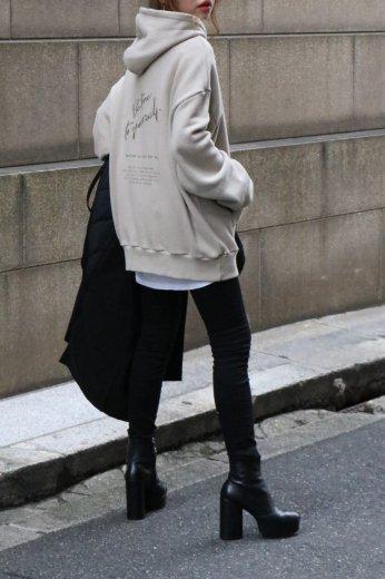 original embroidery hoodie / beige