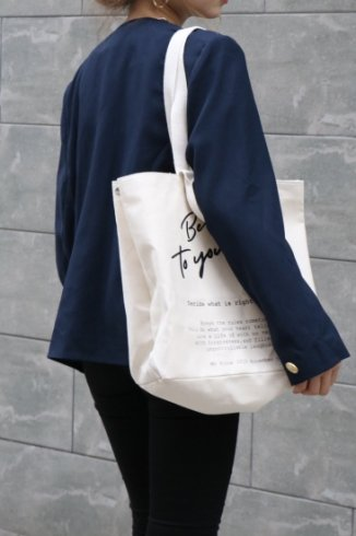 original - logo message 2way tote bag / ivory