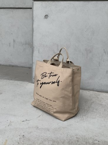 original - logo message 2way tote bag / beige