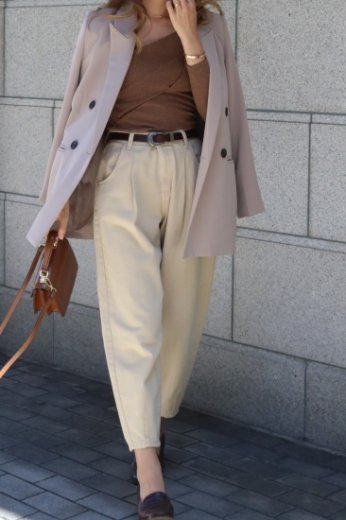 cotton tapered pants / beige