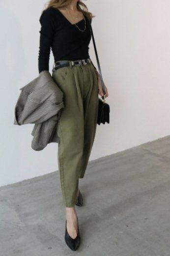 cotton tapered pants / khaki