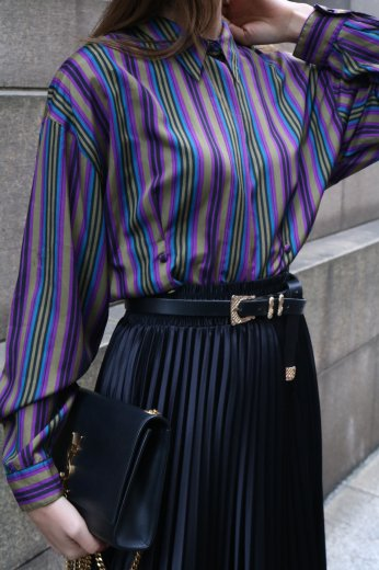 <img class='new_mark_img1' src='https://img.shop-pro.jp/img/new/icons14.gif' style='border:none;display:inline;margin:0px;padding:0px;width:auto;' />【vintage】standard collar multi collar stripe pattern blouse
