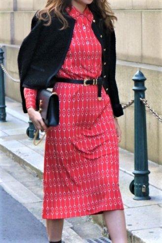 【vintage】CELINE / chain motif patterned all over silk dress