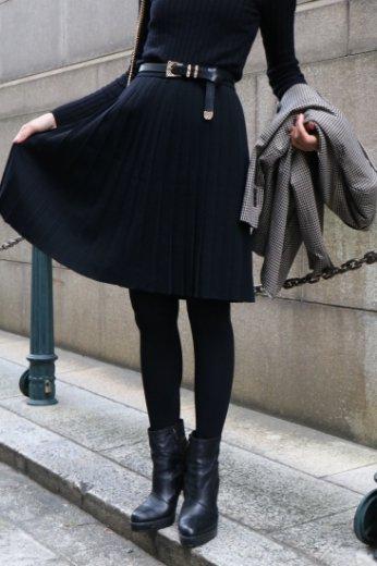 【vintage】Yves Saint Laurent / west gather pleats skirt / black