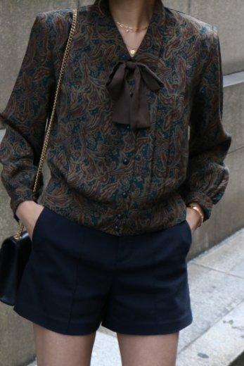 【vintage】front ribbon paisley pattern blouse / khaki