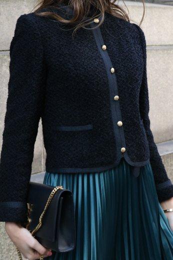 【vintage】front gold button no collar short jacket / black