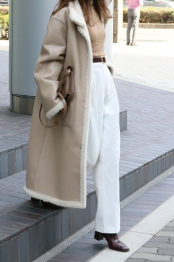 2way reversible boa coat (belt set) / beige