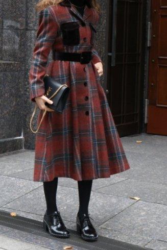 <img class='new_mark_img1' src='https://img.shop-pro.jp/img/new/icons57.gif' style='border:none;display:inline;margin:0px;padding:0px;width:auto;' />open collar tartan check pattern coat dress (belt set) / red