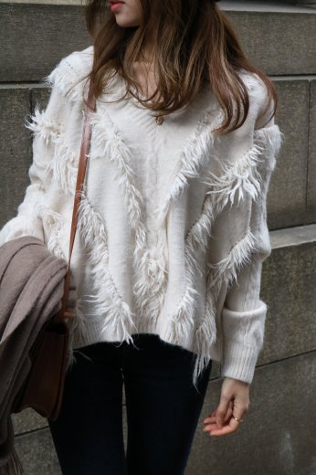 <img class='new_mark_img1' src='https://img.shop-pro.jp/img/new/icons14.gif' style='border:none;display:inline;margin:0px;padding:0px;width:auto;' />V neck fringe design knit tops / ivory