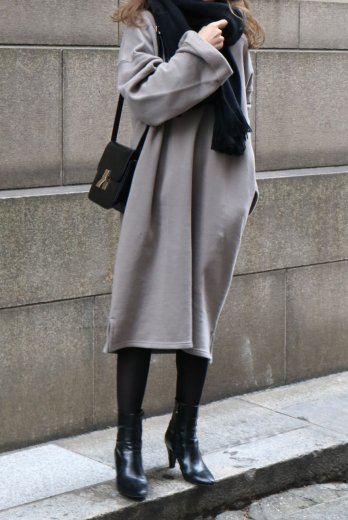 crew neck sweat shirt sack long dress / mocha