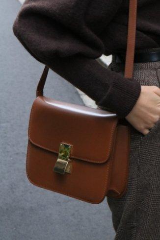 gold clip pochette bag / camel