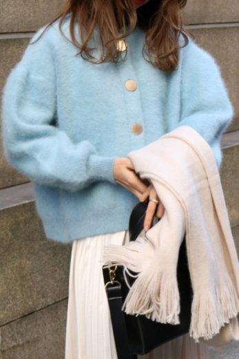 front gold button angora fur cardigan / blue