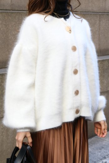 front gold button angora fur cardigan / white