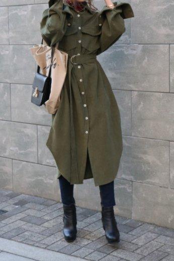 front button corduroy long dress (belt set) / khaki