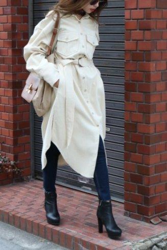 front button corduroy long dress (belt set) / ivory