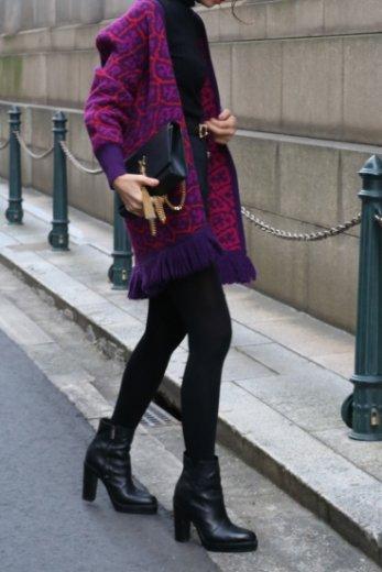 【vintage】 Yves Saint Laurent / patterned all over fringe wool cardigan