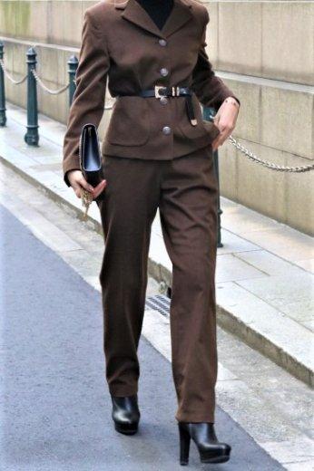 【vintage】VERSACE / medusa button notched lapel collar jacket & straight pants set up