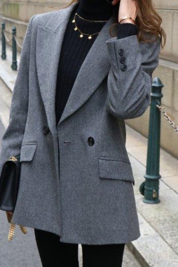 【vintage】Yves Saint Laurent / peaked lapel collar wool jacket
