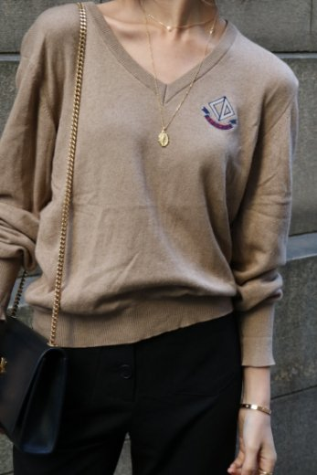 【vintage】Christian Dior / V neck embroidery CD mark knit tops