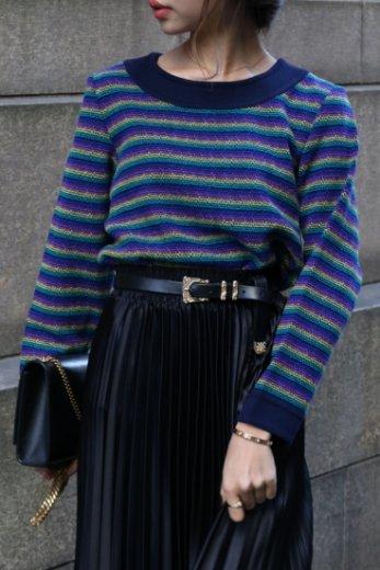 【vintage】Yves Saint Laurent / multi color stripe pattern wool knit tops