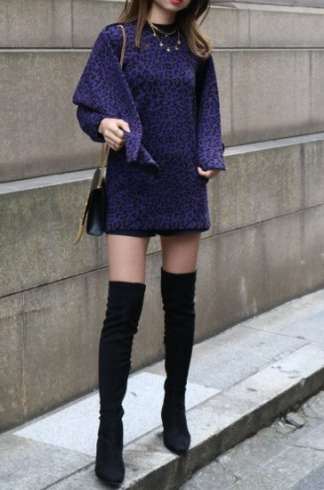【vintage】Yves Saint Laurent / high neck leopard wool knit ( stole set )