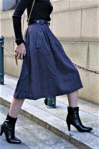 【vintage】Christian Dior / enbroidery CD mark wool flare skirt