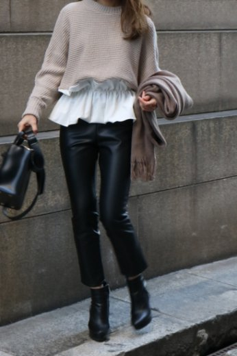 round neck bicolor knit tunic / beige