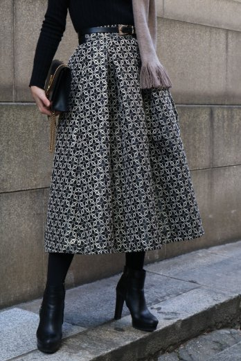 <img class='new_mark_img1' src='https://img.shop-pro.jp/img/new/icons14.gif' style='border:none;display:inline;margin:0px;padding:0px;width:auto;' />patterned all over jacquard flare skirt