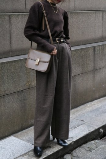 glen check pattern wool mix wide pants / brown
