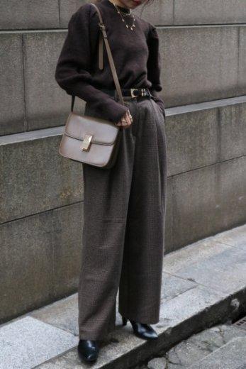 glen check pattern wool mix wide pants / brown