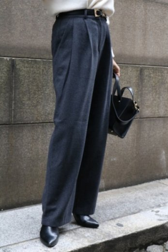 glen check pattern wool mix wide pants / charcoal gray