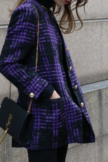 【vintage】front gold button tweed check pattern no collar jacket