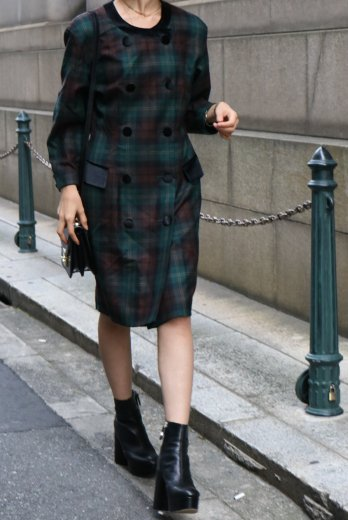 【vintage】velours piping tartan check pattern no collar dress